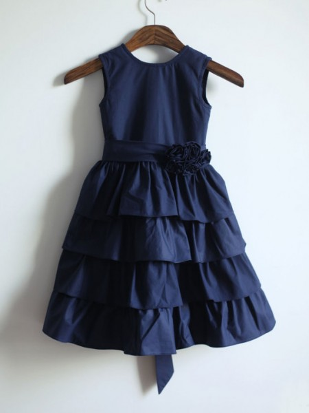 A-line/Princess Jewel Sash/Ribbon/Belt Long Taffeta Dress